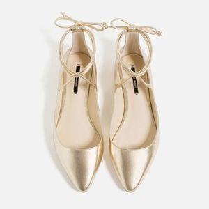 Zara Basic Gold Lace Up Flats